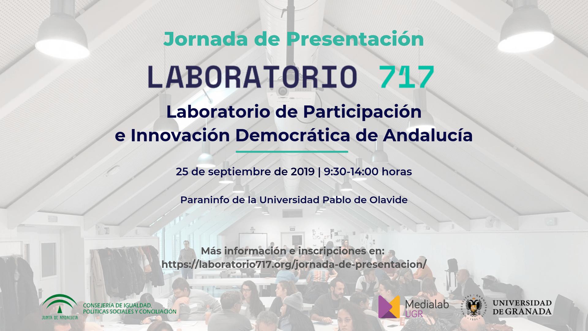 """Imagen de la noticia Jornada de presentación del """"Laboratorio 717 – Laboratorio de Participación e Innovación Democrática de Andalucía"""""""