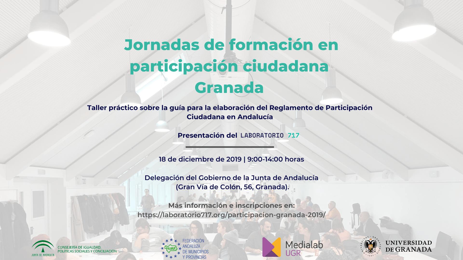 Imagen de la noticia Jornada de formación en participación ciudadana Granada (18 de diciembre de 2019)