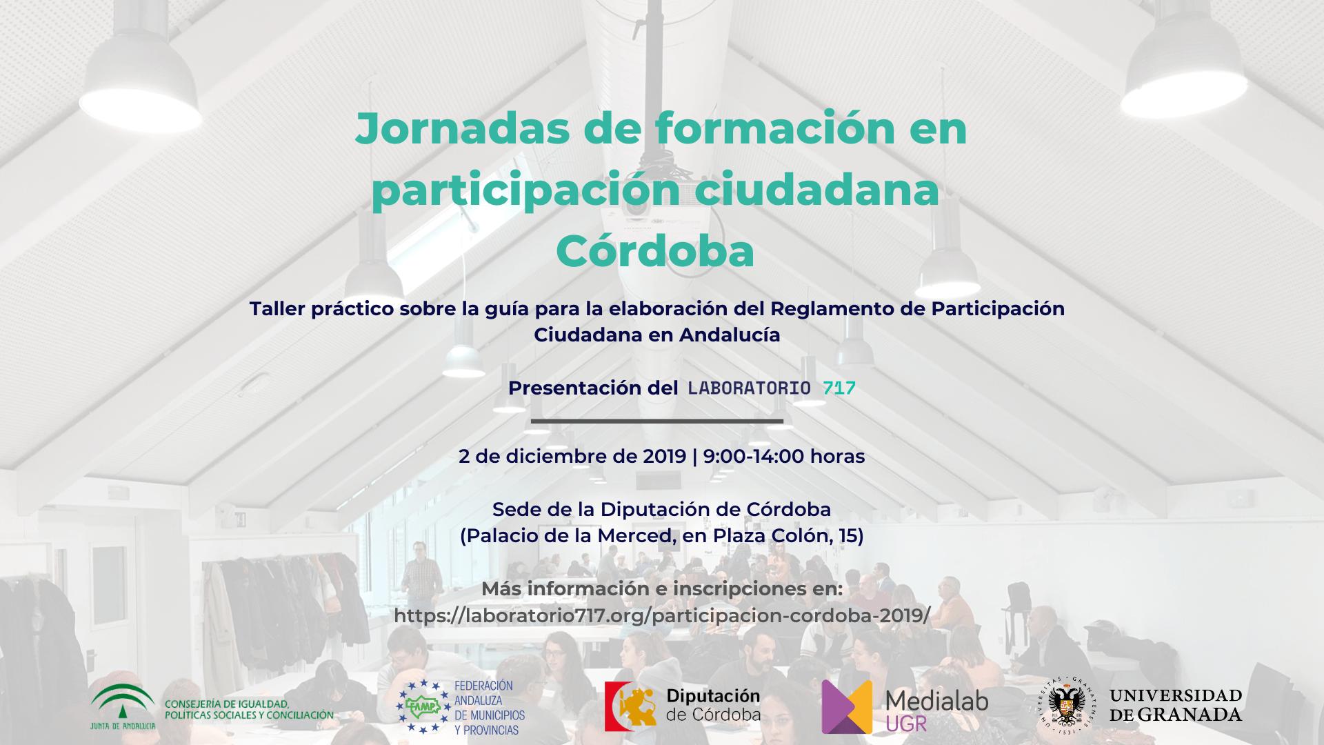 Imagen de la noticia Jornada de formación en participación ciudadana Córdoba (2 de diciembre de 2019)