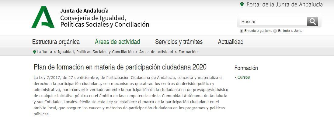 """Imagen de la noticia Convocatoria de acción formativa """"La Ley de Participación ciudadana de Andalucía: el nuevo marco de participación ciudadana en el ámbito local"""""""