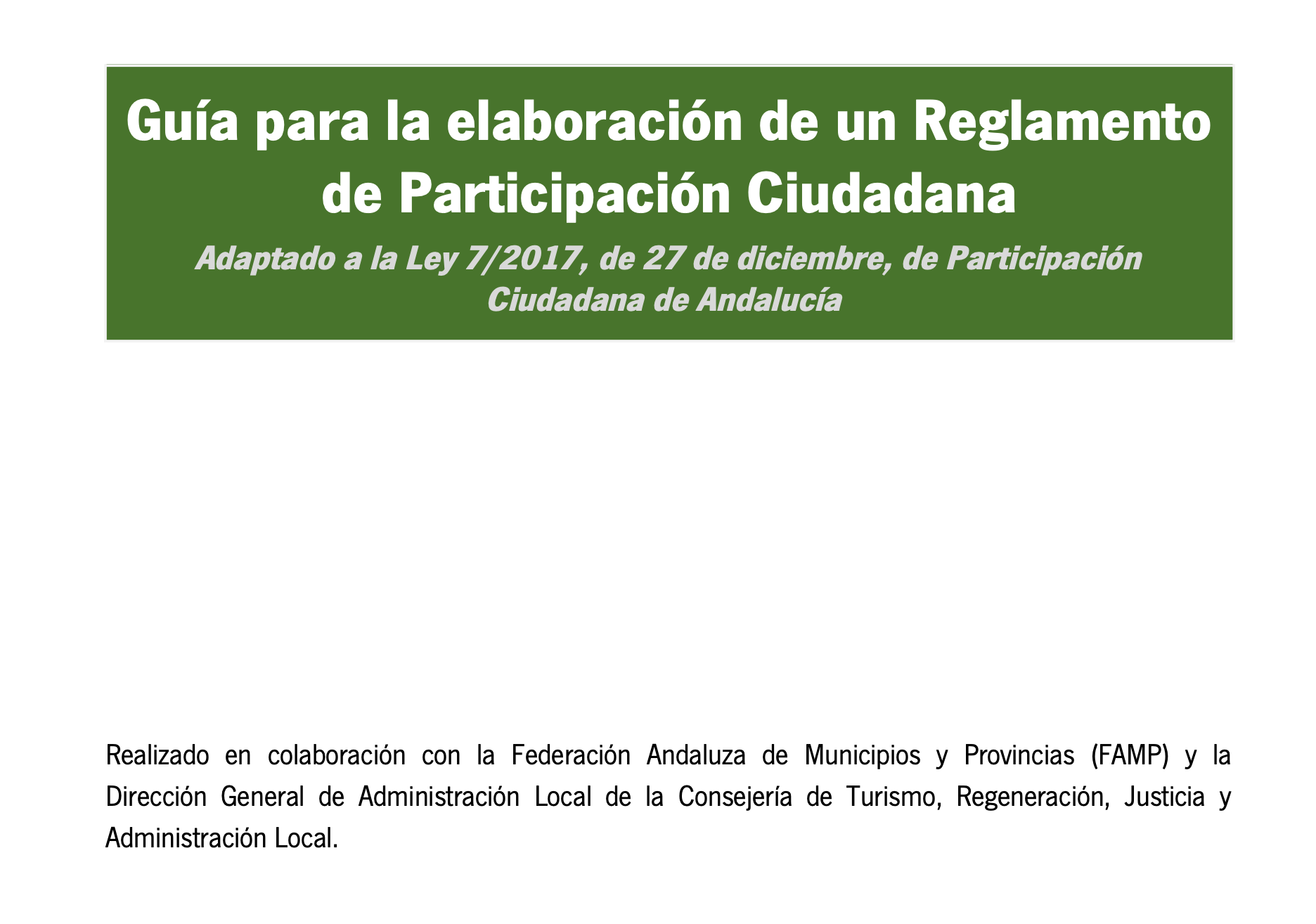 Imagen de la noticia Guía para la elaboración de un Reglamento de Participación Ciudadana de Andalucía