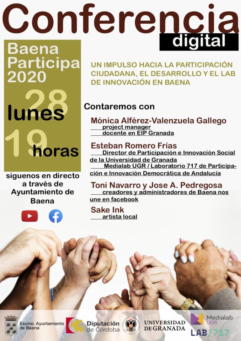 Imagen de la noticia Jornadas de Participación Ciudadana en Baena: conferencia sobre participación e innovación social en Andalucía