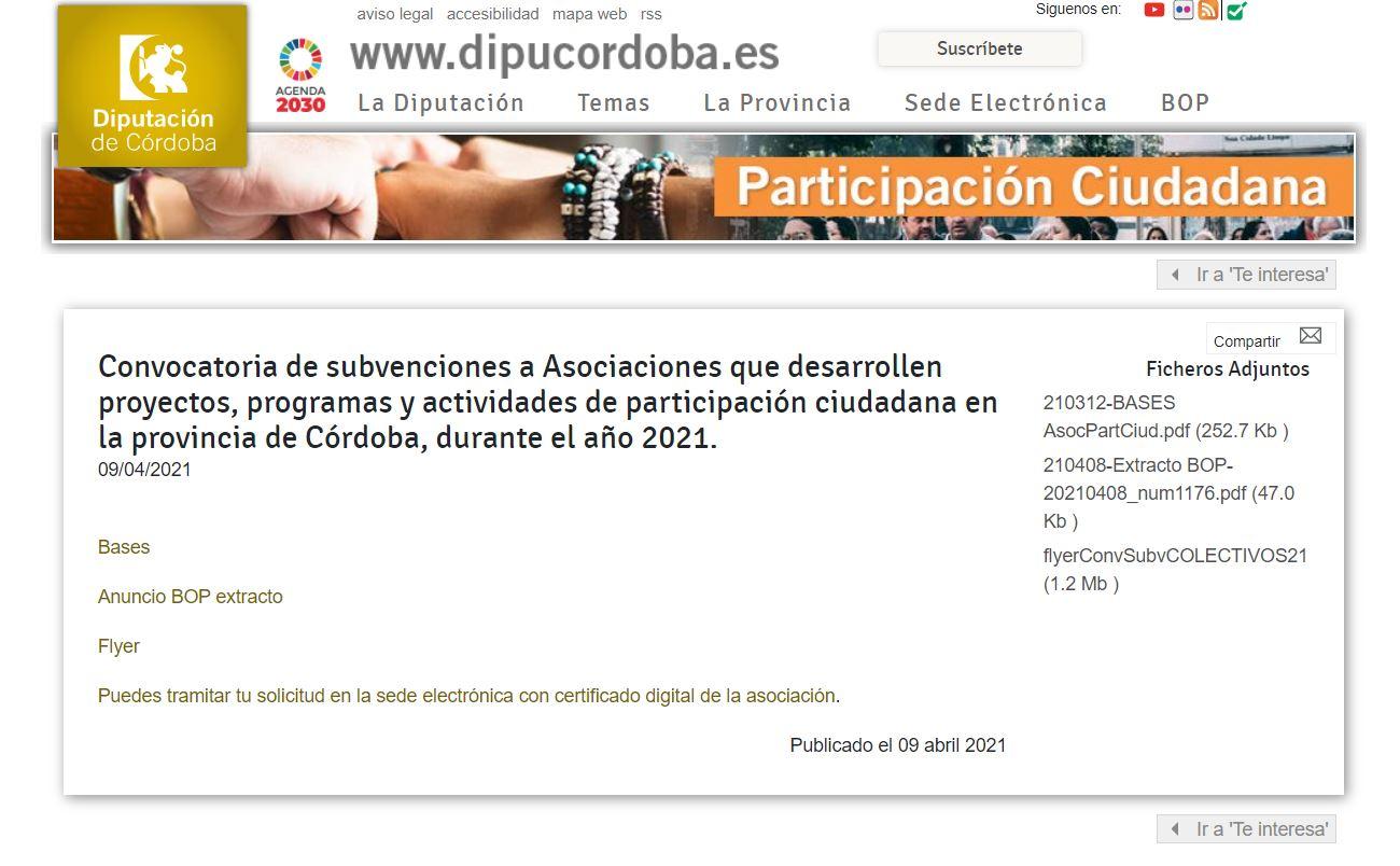 Imagen de la noticia La Diputación de Córdoba abre el plazo para que las asociaciones de la provincia soliciten ayudas para proyectos de participación